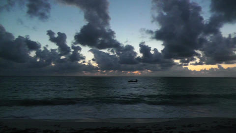 Sunrise over the Caribbean 02 pan Stock Video Footage