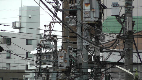 Telecommunication and Electric Cables Japan Stock Video Footage