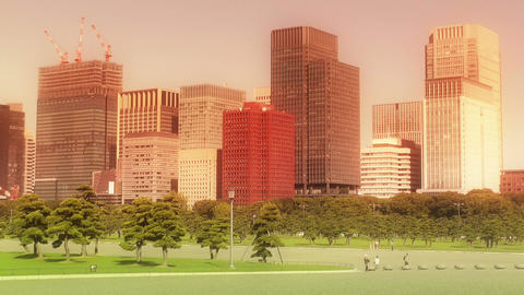 Tokyo City View from Imperial Palace Japan 02 Stock Video Footage