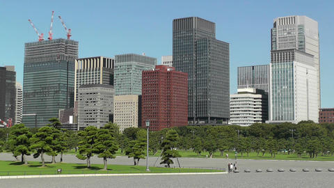 Tokyo City View from the Imperial Palace Japan 02 Stock Video Footage