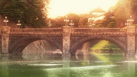Tokyo Imperial Palace Japan Nijubashi Bridge 02 stylized Stock Video Footage