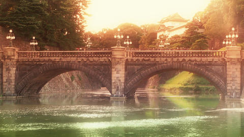 Tokyo Imperial Palace Japan Nijubashi Bridge 02 stylized Stock Video Footage