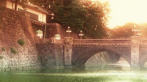 Tokyo Imperial Palace Japan Nijubashi Bridge 03 stylized Stock Video Footage