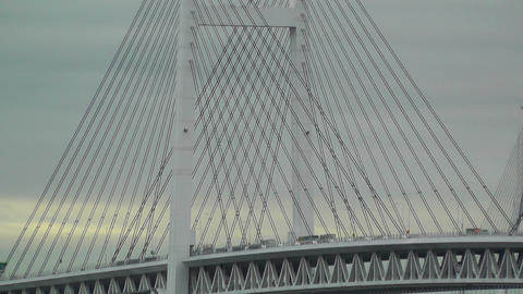 Yokohama Japan Metropolitan Expressway Bridge over the Bay Stock Video Footage