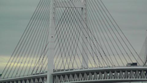 Yokohama Japan Metropolitan Expressway Bridge over the Bay Stock Video Footage