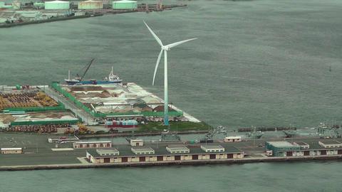 Yokohama Aerial Japan 04 wind turbine Stock Video Footage