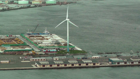 Yokohama Aerial Japan 04 wind turbine Stock Video Footage
