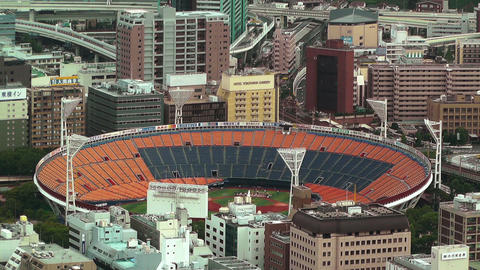 Yokohama Aerial Japan 18 baseball stadium Stock Video Footage