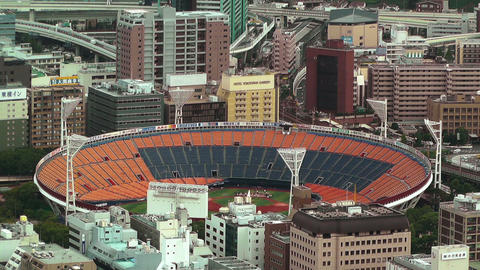 Yokohama Aerial Japan 18 baseball stadium Footage