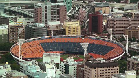 Yokohama Aerial Japan 18 baseball stadium Stock Video Footage
