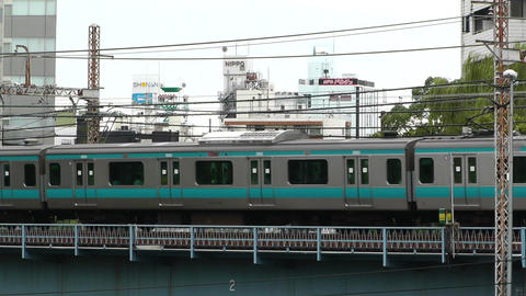 Yokohama Commuter Train Japan Stock Video Footage