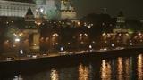 night Kremlin Embankment panorama Footage