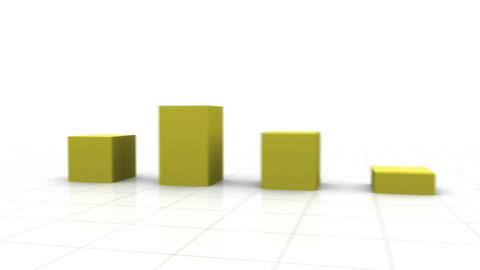 3D Growing Bar Graph Stock Video Footage