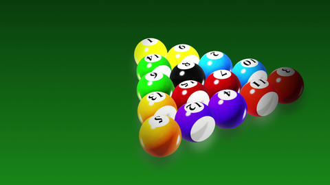 Billiards, Rotation on green background, seamless loop Stock Video Footage