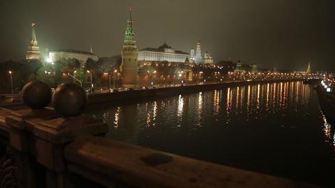 night Kremlin Embankment slider Stock Video Footage