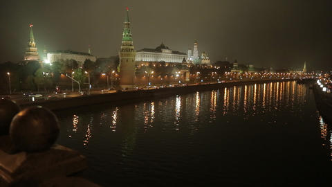 night Kremlin Embankment slider Stock Video Footage