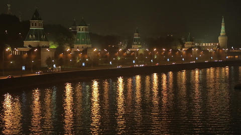 night Kremlin Embankment time lapse Stock Video Footage