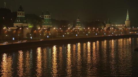 night Kremlin Embankment time lapse Stock Video Footage