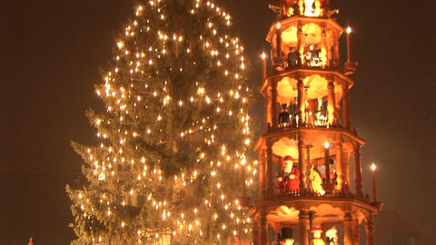 Christmas Pyramid and tree Stock Video Footage