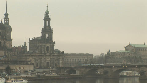 Elbe River and the Old Town, Dresden Stock Video Footage