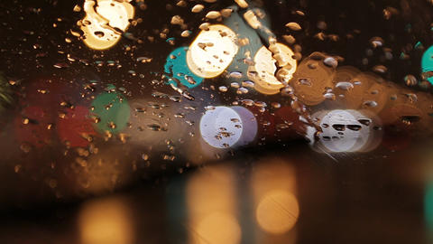 car window rain night background defocused Stock Video Footage