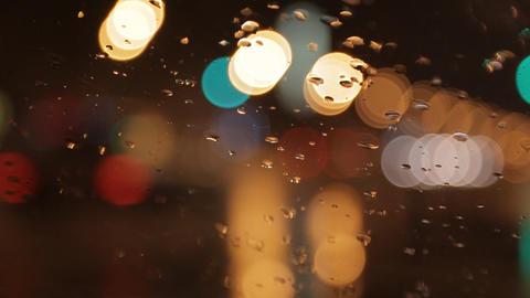 car window rain night background defocused Stock Video Footage