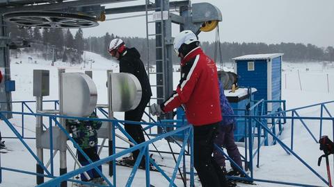 line of people ski lift Footage