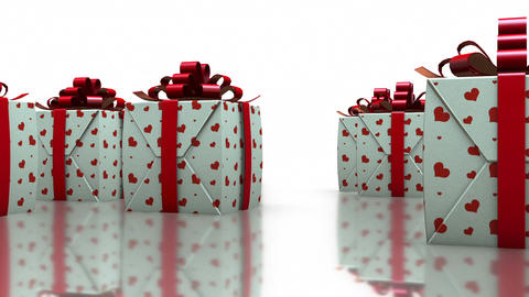 3D Rotating Gift Boxes with Love Hearts in White Background Footage