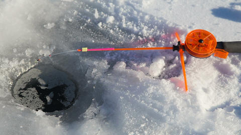 Winter fishing rod and fish on ice Footage