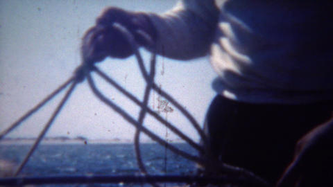 1949: Dungeness crab catching net from boat in ocean bay waters Footage