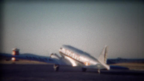 1943: Delta Propeller Commercial Airplane Takeoff On Airport Runway stock footage
