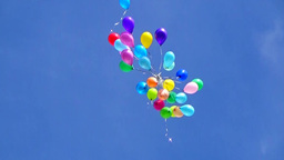 Balloons Fly Up In The Sky stock footage
