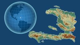 Haiti and Globe. Relief Animation