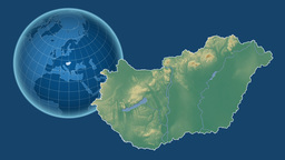 Hungary and Globe. Relief Animation