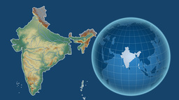 India and Globe. Relief Animation