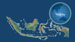 Indonesia and Globe. Relief Animation