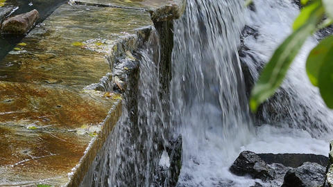Water flows down the stones Footage