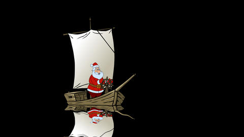 Santa travels by his yacht Animation