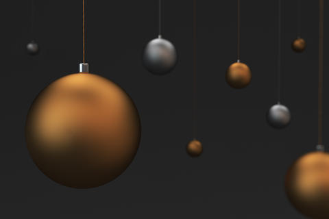 Set of gold and silver christmas balls on black background Photo