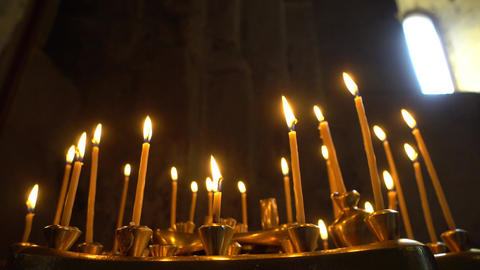 Taper Candles Burning in Church Footage