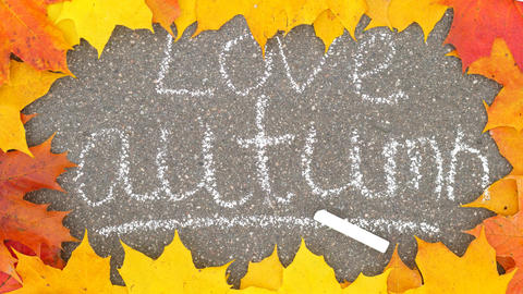 Love autumn inscription made by white chalk, colorful maple leaves lie around GIF
