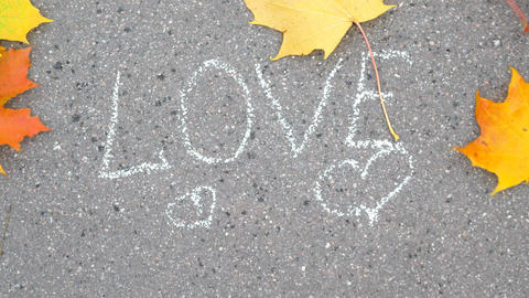 Colourful maple leaves fly away on wind gust, expose written 'LOVE' text Footage