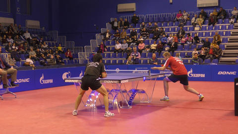 Orenburg, Russia - September 28, 2017 years: boy in game table tennis Footage