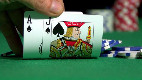 Casino Blackjack Hand Stock Video Footage