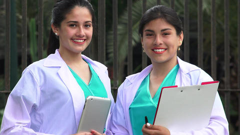 Young Female Nurses Smiling Live Action