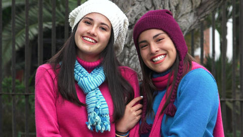 Happy Teen Girl Friends Cold Weather Live Action