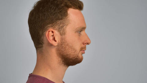 redhead male portrait in profile Footage