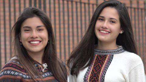 Smiling Hispanic Latina Female Teens Live Action