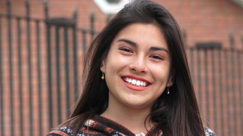 Smiling Peruvian Latina Teen Girl Live Action