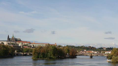 Vltava river. Prague old town panorama timelapse, Czech republic Footage